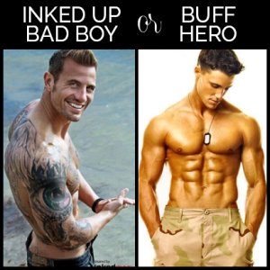Inked up bad boy and buff hero